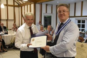 Vic Copping is recognised for his work for Wickford Rotary