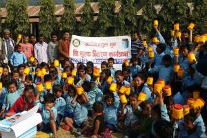 Community awareness and iodized salt distribution program at Maini School, Rampur