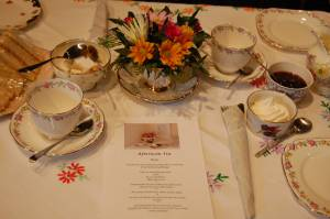 Tables are presented Ritz Style with china kindly sponsored by Alice Lilly Vintage China