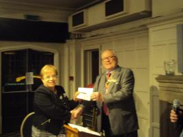 Evening Meeting Cheque Presentation of £7,074 to Rochelle Hodds, of St. Frances Hospice