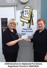 £500 Donated - Haylands Pre-School