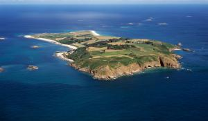 An aerial photograph of the beautiful island of Herm