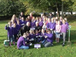 The Bishops C of E Learning Academy School planted 10,000 purple crocuses in Trenance Gardens,