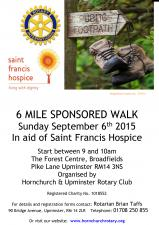 Sunday 6th September Sponsored Walk