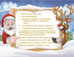 Santa & Reindeer hold recipe between them and point.