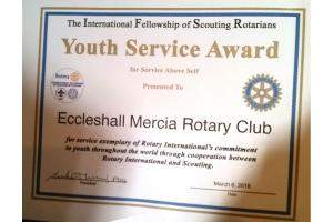 IFSR Youth Service Award made to Eccleshall Mercia Rotary Club