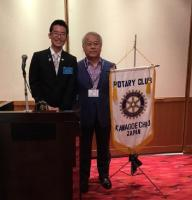 Shota at Kawagoe Rotary Club  with Club President