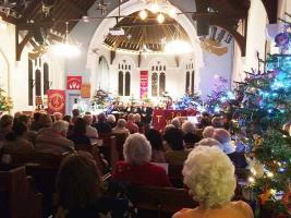 Upminster Methodist Church with  the Rotary tree sponsored by our Club