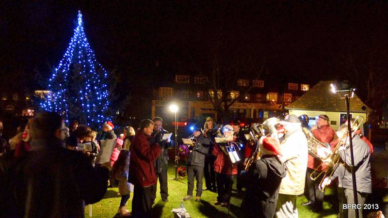 Light up Bradmore Green - Potters Bar Town Band plays Christmas Carols around the newly lit tree.