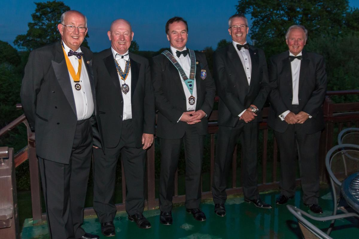 WAKEFIELD CHANTRY CHARTER NIGHT - Guests of honour l to r:- Neil Dodgson (President Elect), Dick Wood, Robert Morphet, Mark Jeffries and Barry York.