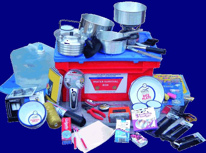 Rotary water Survival Box contents