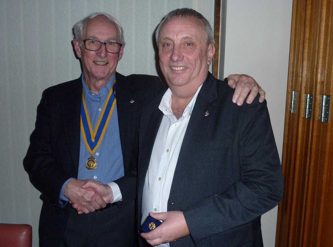 Paul Harris Fellowship Rotary Awards - David Ellis with Past President James Watts