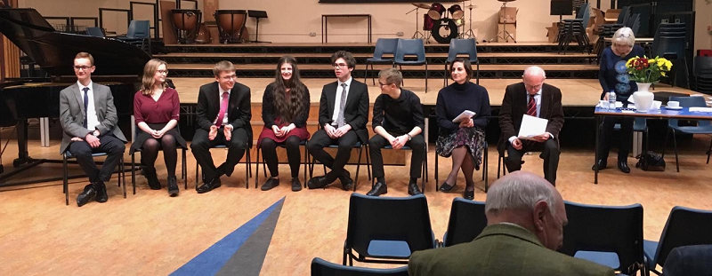 6 instrumentalists and the 4 Vocalists our shown here at the annual Young Musician Competition on 11th January 2018.