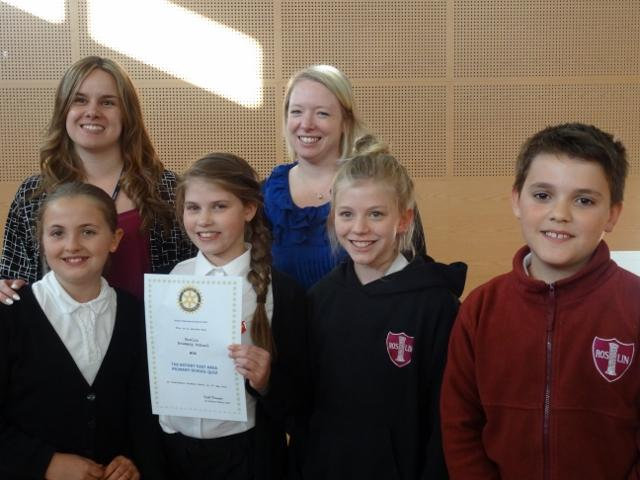 Primary School Quiz 2015 Area round - Keira, Isabel, Madeline and Augustus with their teachers P6 Lyndsey Pow and P7 Andrea Berry