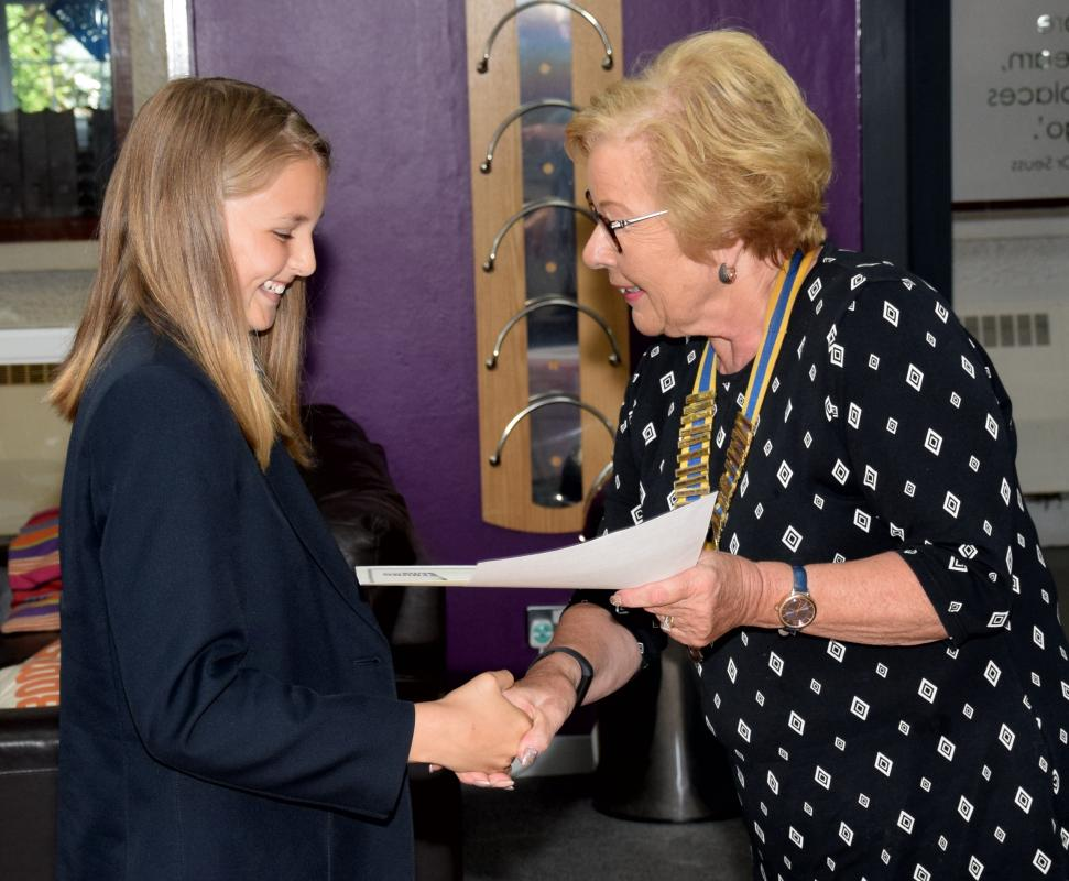 ROTARY YOUNG WRITER 2018 - Winner Kitty Thornton  receives her Certificate of Participation