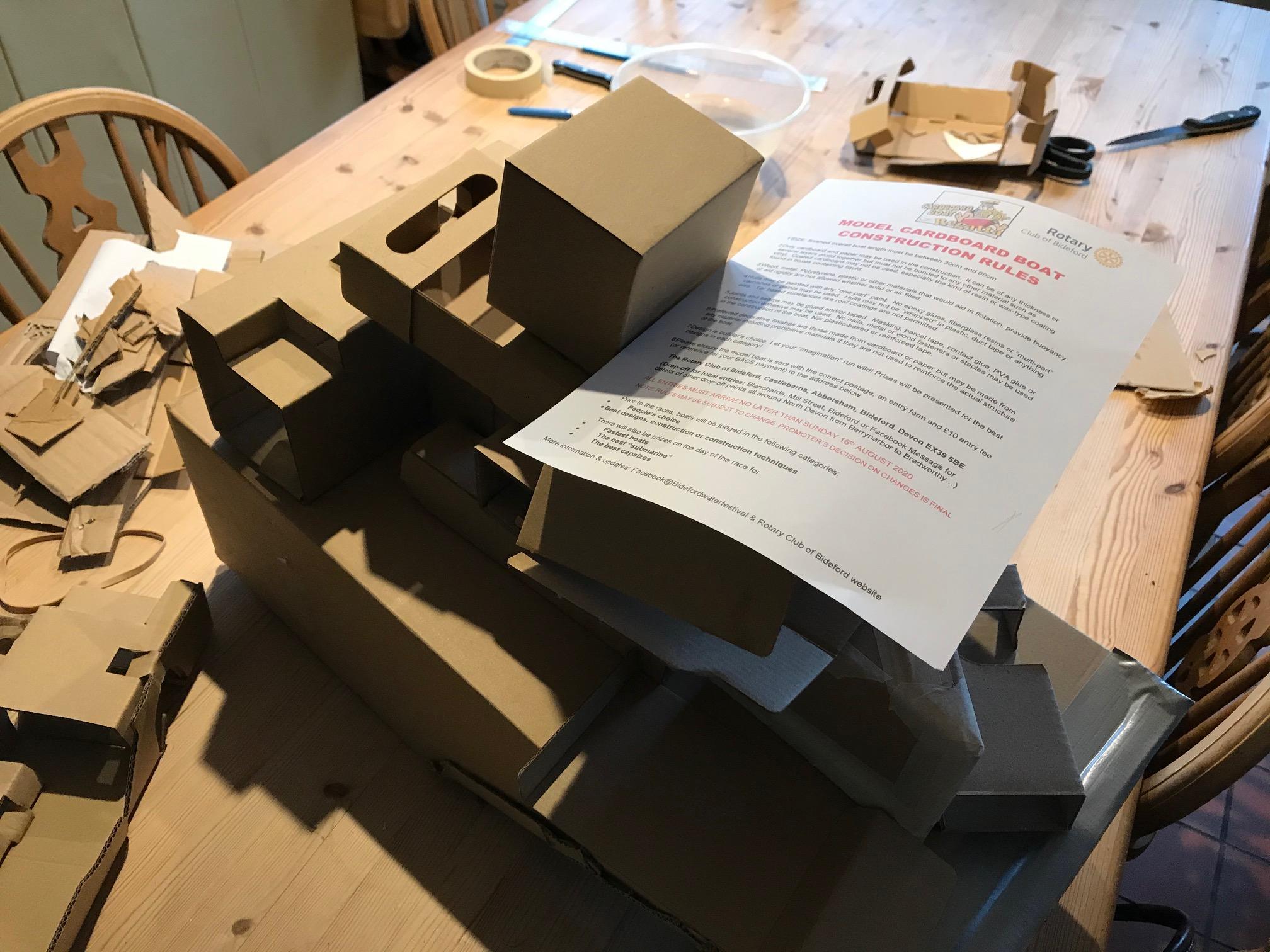 Building Model Cordboard Boats for Bideford Water Festival