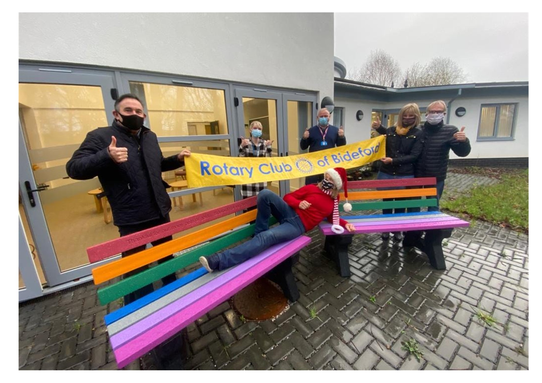 Rainbow Benches for North Devon District Hospital donated by Bideford Rotary