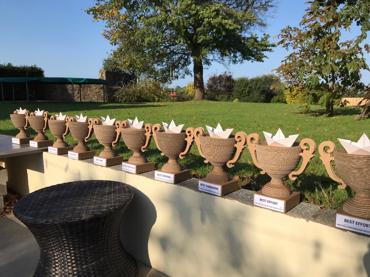 Wonderful trophies for the winners of the 2020 Model Cardboard Boat Race