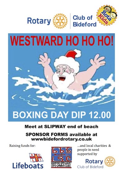 Westward Ho Ho Ho Dip Poster - Boxing Day