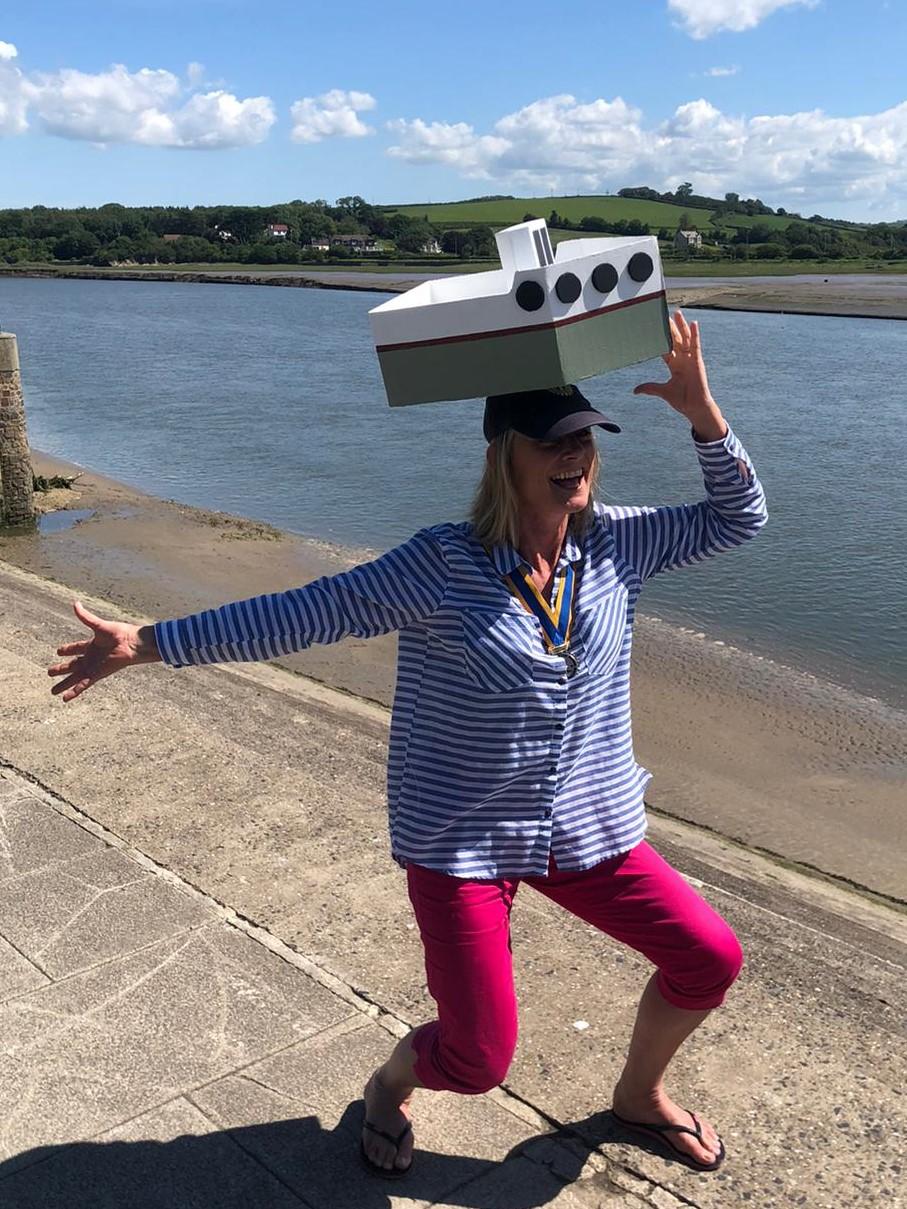 Model boat on the President's head, Bideford Quay