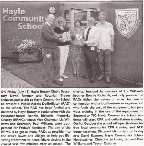 Hayle Rotary presentation to Hayle Community School
