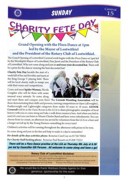 2015 Lostwithiel Carnival Programme