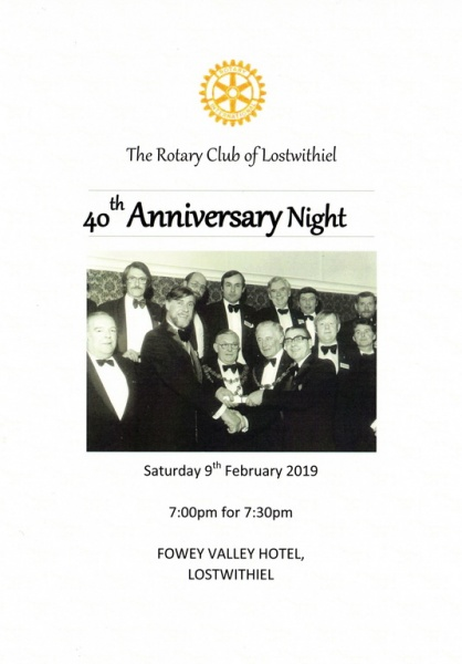 Lostwithiel 40th Charter Dinner Menu