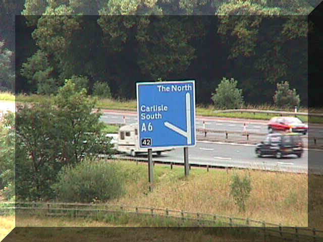 View of M6 near Carlisle showing Carlisle South exit sign