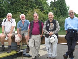 Some members take a break during the recent Thames Path Walk
