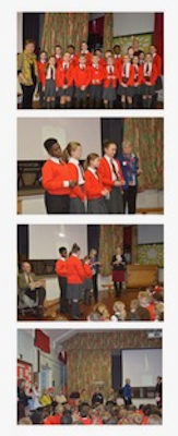 Series of photos of primary school children in red jumpers