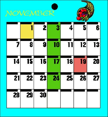 A calendar page for a month with various dates highlighted