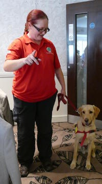 A woman with spectacles and a red T shirt handling a Golden Retriever