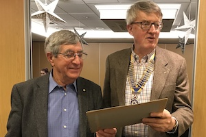 Anthony Birch receives his 35-years of Rotary Service certificate