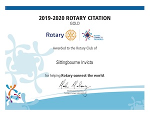 Rotary Citation 2019-2020 awarded to the Rotary Club of Sittingbourne Invicta