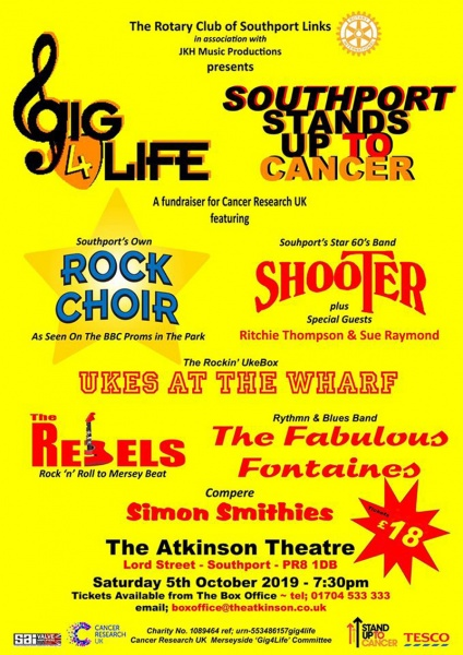 Gig4Life, Stand Up 2 Cancer, Rotary International, Southport Links, Cancer Research