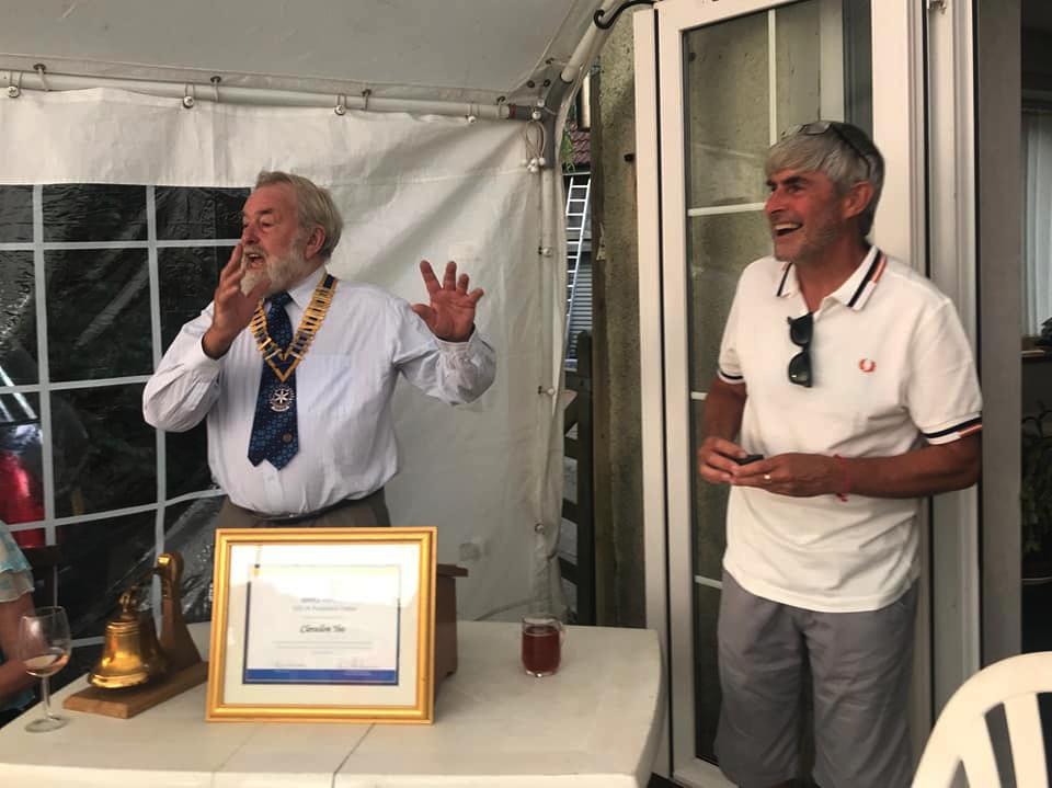 Clevedon Yeo Rotary - Secretary Steve receiving his PHF award