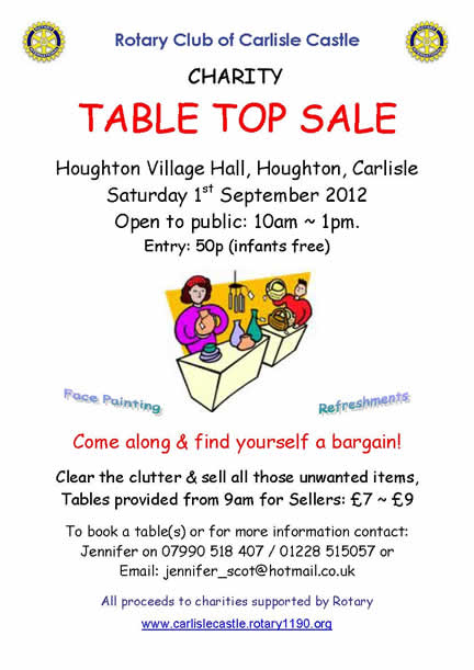 Table Top Sale. 1st September 2012, Houghton Village Hall