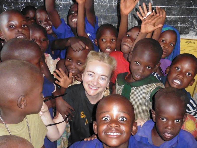 Sylvia with school children in Uganda in January 2017