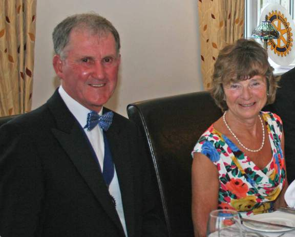 Rotarian John Borrill,  installed as the Club's new President and Mrs Dorothy Borrill at the Charter Dinner