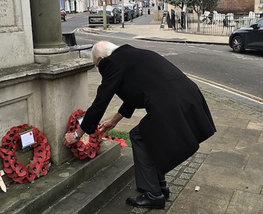 Treasurer Richard lays a wreath to remember the Fallen on behalf of us all