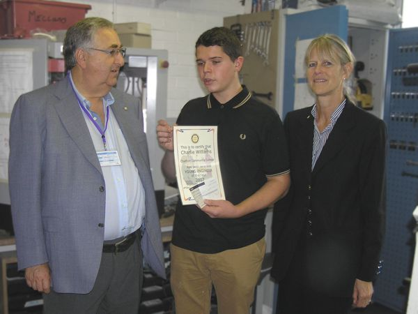 Rotary President John Krushner, award winner Charlie Williams, College Principal Sue Tanner