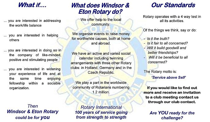 WHAT OUR CLUB DOES - Rotary Club of Windsor & Eton