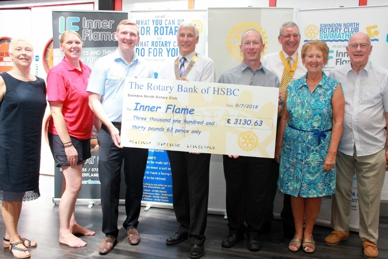 The proceeds from the Swimathon are presented to Inner Flame at The Link Centre in West Swindon