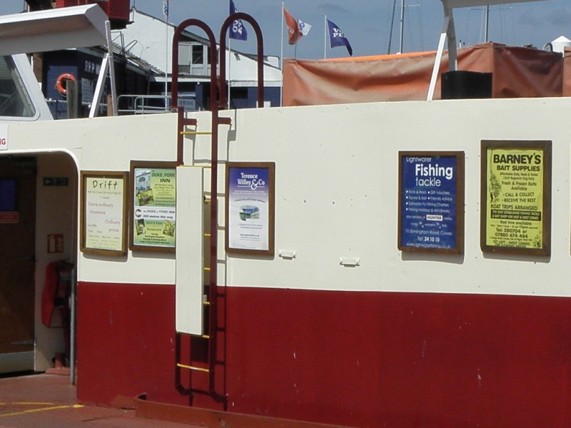 High visibility panels available on the Cowes Floating Bridge