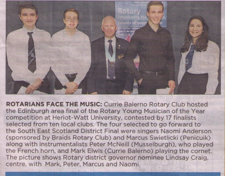 Area Finalists in Rotary's Young Musician of the Year 2016