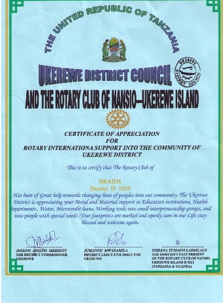 Certificate of Appreciation for Ukerewe Projects