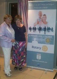 Caroline Kehoe of Braids Rotary Club with Martine Sanchez of Cavaillon St Jaques Rotary Club