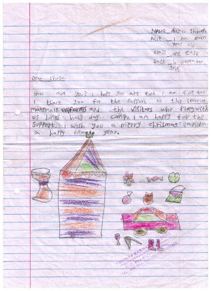 Letter from Abigail at Mashimoni Primary School