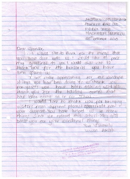 Letter from Akoth at Mashimoni Primary School