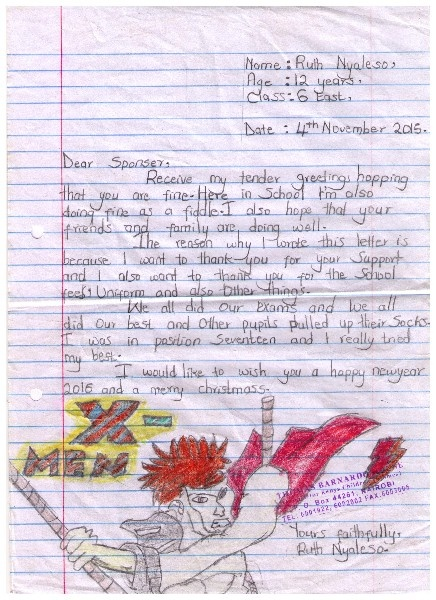 Letter from Ruth at Mashimoni Primary School